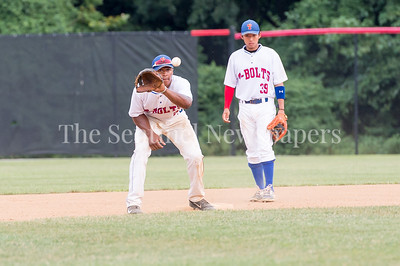 7/21/2017 - Thunderbolts shortstop Carl Colbert catches the ball as 2nd baseman Alex Yi-Chen Jou looks on, Photo Credit: Jacqui South