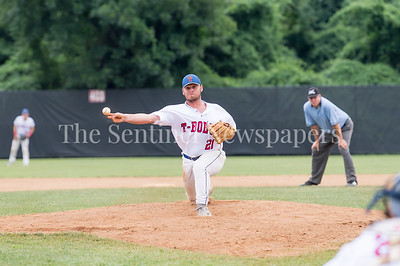 7/21/2017 - Thunderbolt pitcher Garrison Vandeventer pitched the end of the first game, Riverdogs v Thunderbolts, Photo Credit: Jacqui South