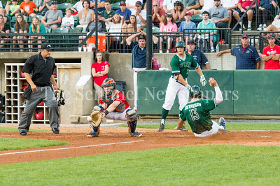 7/30/2017 - Big Train catcher Justin Morris slides safely into home plate after hitting a 3-RBI double in the 4th inning, Photo Credit: Jacqui South