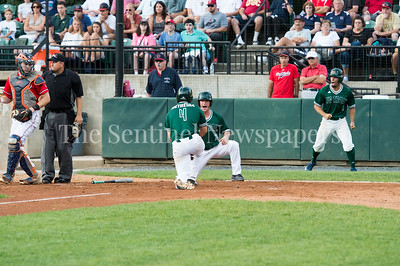 7/30/2017 - Big Train shortstop Garrett Kueber scores in the 4th inning, Photo Credit: Jacqui South