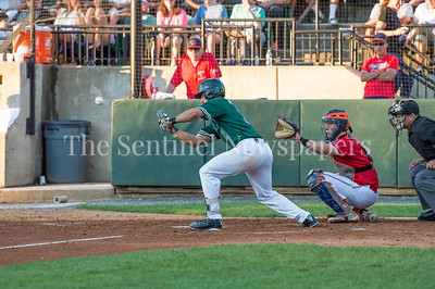 7/30/2017 - Big Train 2nd baseman Vinny Esposito hits a sacrifice bunt in the 4th inning, Photo Credit: Jacqui South