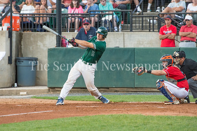 7/30/2017 - Big Train catcher Justin Morris hits a 3-RBI double in the 4th inning, Photo Credit: Jacqui South
