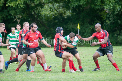 Potomac Exile's Luis O'Neil (In red) fights for the ball. 08 26 2017 Potomac Exile v Lancaster Roses Rugby