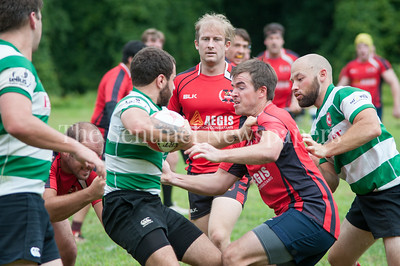 Potomac' s BIll Whalen struggles to get the ball. 08 26 2017 Potomac Exile v Lancaster Roses Rugby