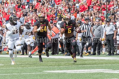 9/9/2017 - Ty Johnson (6) on his way to scoring a touchdown, Towson v University of Maryland Football, Photo Credit: Jacqui South
