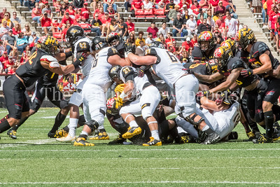 9/9/2017 - Adrian Platt (Seneca Valley) runs with the ball in the Towson v University of Maryland football game, Photo Credit: Jacqui South