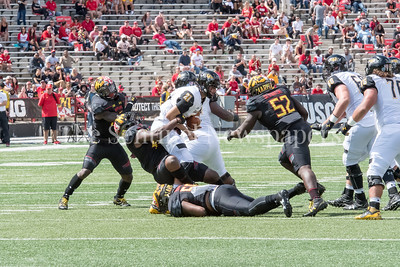 9/9/2017 - Andrew Isaacs (44) tackles Ryan Stover (21), Towson v University of Maryland Football, Photo Credit: Jacqui South