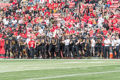 9/9/2017 - Maryland sideline during a kickoff, Towson v University of Maryland Football, Photo Credit: Jacqui South