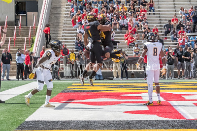 9/9/2017 - D.J. Moore (1) & Jacquille Veii (84) celebrate a Terp touchdown, Towson v University of Maryland Football, Photo Credit: Jacqui South