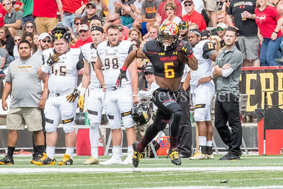 9/9/2017 - Jabari Allen (6) on his way to scoring for the Terps, Towson v University of Maryland Football, Photo Credit: Jacqui South