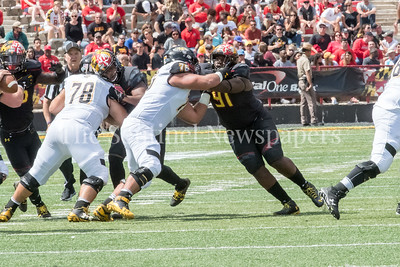 9/9/2017 - Maryland lineman Adam McLean (91) (Quince Orchard HS), Towson v University of Maryland Football, Photo Credit: Jacqui South
