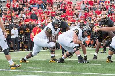 9/9/2017 - Towson lineman Josh Diaz (72) & Nico Russolillo look to quarterback Ryan Stover,  Towson v University of Maryland Football, Photo Credit: Jacqui South