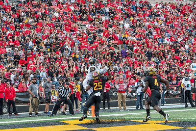 9/9/2017 - Jabari Allen (18) makes the catch for Towson's first touchdown, Towson v University of Maryland Football, Photo Credit: Jacqui South