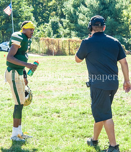 John F Kennedy High School Cavaliers quarterback Joavan Johnson (5) resting... 3 plays later he went out with a possible fracture (arm) 09 23 2017 John F Kennedy High School hosts Walter Johnson High School in Football.