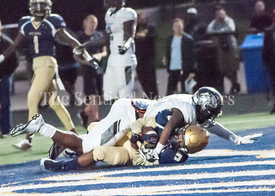 Our Lady of Good Council Falcons Tremayn Stott (5) scores. 09 28 2017 Northwest High School at Our Lady of Good Council High School Football