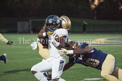 Northwest High School Jaguars Juwon Farri (1)  getting tackled. 09 28 2017 Northwest High School at Our Lady of Good Council High School Football