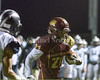 Paint Branch wide receiver Max Davis carries a Norman Douglas Jr. pass in for a touchdown.<br /> Photo by David Wolfe