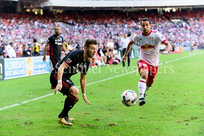 Midfielder Paul Arriola chases down a defelected throw in ball.   DC United vs NY Red Bulls  10-22-17 Photo by David Wolfe
