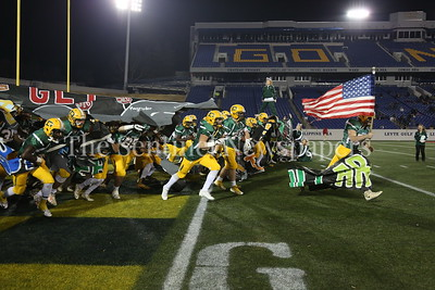George P. Smith/The Montgomery Sentinel   The  Damascus High School Swarmin' Hornets take the field against Gwynn Park High School in the State 2A Final game played at Navy-Marine Corps Memorial Stadium in Annapolis on Saturday, December 2, 2017.