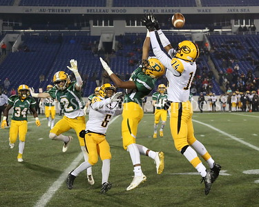 George P. Smith/The Montgomery Sentinel    Damascus High School's Preston Murray (#20) gets in the face on Gwynn Park High School's Roman Davis breaking up the pass in the State 2A Final game played at Navy-Marine Corps Memorial Stadium in Annapolis on Saturday, December 2, 2017.
