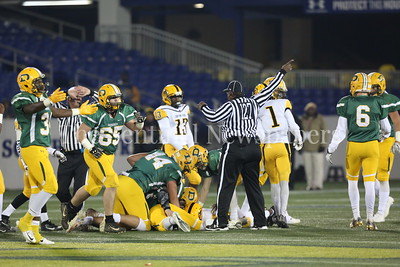 George P. Smith/The Montgomery Sentinel    Damascus High School players celebrate a fumble recovery by Timothy Furgeson (#42) after a bad snap by Gwynn Park High School in the State 2A Final game played at Navy-Marine Corps Memorial Stadium in Annapolis on Saturday, December 2, 2017.