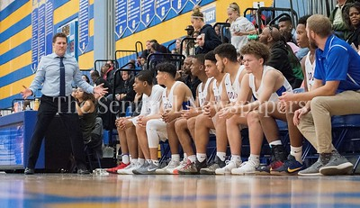 Gaithersburg's Coach Jeffrey Holda expresses his thoughts with the team shortly after a Gaithersburg turned over the ball to B-CC. Gaithersburg vs B-CC High School Boy Varsity Basketball Photo Credit:  David Wolfe