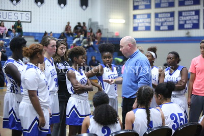 "George P. Smith/The Montgomery Sentinel     James Hubert ""Eubie"" Blake High School's  girls varsity basketball head coach Christopher R. Towle talks about coachability during a timeout."