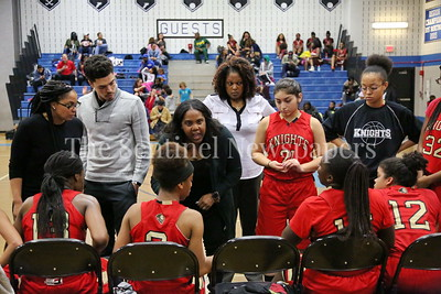 George P. Smith/The Montgomery Sentinel    Wheaton High School girls varsity basketball head coach Michelle Snape during a time out.