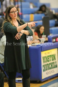 George P. Smith/The Montgomery Sentinel    Winston Churchill High School girls varsity basketball head coach Kate Blanken pointing out matchups during the game played at Churchill on Tuesday, January 2, 2018.