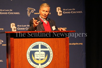 George P. Smith/The Montgomery Sentinel    Legendary broadcaster Johnny Holliday served as Master of Ceremonies for the Roast & Toast of Coach Bob Milloy held at Our Lady of Good Counsel High School's Performing Arts Center on Saturday, February 10, 2018.