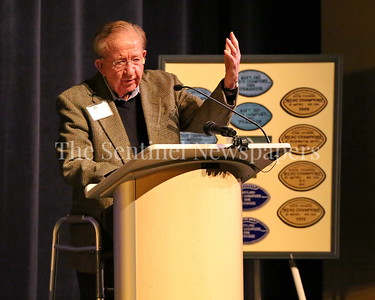 George P. Smith/The Montgomery Sentinel    Legendary DeMatha Coach Morgan Wootton at the Roast & Toast of Coach Bob Milloy held at Our Lady of Good Counsel High School's Performing Arts Center on Saturday, February 10, 2018.