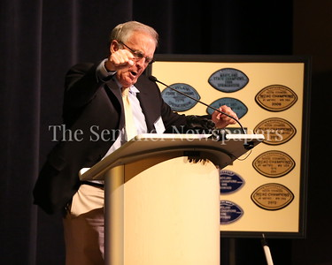 George P. Smith/The Montgomery Sentinel    An animated Coach Tom Crowell retells the story about the time Bob Milloy cracked his car's windshield after losing a game during the Roast & Toast of Coach Bob Milloy held at Our Lady of Good Counsel High School's Performing Arts Center on Saturday, February 10, 2018.