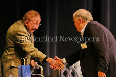 George P. Smith/The Montgomery Sentinel    Bob Milloy thanking Morgan Wootten for coming to his Roast & Toast held at Our Lady of Good Counsel High School's Performing Arts Center on Saturday, February 10, 2018.