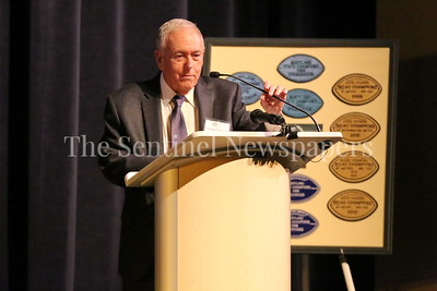 George P. Smith/The Montgomery Sentinel   George Solomon, former sports editor and sports journalist at the Washington Post and current Professor of the Practice at the Philip Merrill College of Journalism and the first director of The Shirley Povich Center for Sports Journalism, speaks at the Roast & Toast of Coach Bob Milloy held at Our Lady of Good Counsel Catholic High School's Performing Arts Center on Saturday, February 10, 2018.