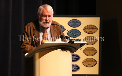 George P. Smith/The Montgomery Sentinel    Craig Weinsek (OLGCHS '63), came all the way from Algarve, Portugal to speak Bob Milloy's time at Walt Whitman High School at the Roast & Toast of Coach Bob Milloy held at Our Lady of Good Counsel High School's Performing Arts Center on Saturday, February 10, 2018.