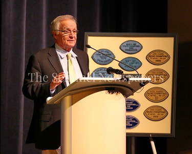 George P. Smith/The Montgomery Sentinel    Coach Tom Crowell speaks at the Roast & Toast of Coach Bob Milloy held at Our Lady of Good Counsel High School's Performing Arts Center on Saturday, February 10, 2018.