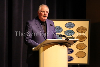 George P. Smith/The Montgomery Sentinel    Montgomery County Police Department Chief J. Thomas Manger speaks at the Roast & Toast of Coach Bob Milloy held at Our Lady of Good Counsel High School's Performing Arts Center on Saturday, February 10, 2018.