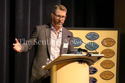 George P. Smith/The Montgomery Sentinel    Sherwood High School graduate Graham Manley at the Roast & Toast of Coach Bob Milloy held at Our Lady of Good Counsel High School's Performing Arts Center on Saturday, February 10, 2018.