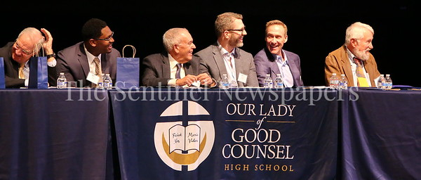 George P. Smith/The Montgomery Sentinel    Speakers on stage for the Roast & Toast of Coach Bob Milloy held at Our Lady of Good Counsel High School's Performing Arts Center on Saturday, February 10, 2018. (L-R) S Coach Tom Crowell, Akeem Hebron '06, George Solomon, Graham Manley, Michael Strittmatter, and Craig Weincek '63.