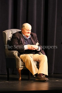 George P. Smith/The Montgomery Sentinel    A comfortable and content-looking Coach Bob Milloy in the chair of honor, listens as former players, assistant coaches, and special guests Roast & Toast him on the occasion of his retirement from 47 year of coaching football.
