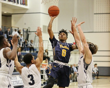 "George P. Smith/The Montgomery Sentinel      Bullis' Frevado ""Vado"" Morse (#0) taking it to the hoop against Georgetown Preparatory School in the game played Thursday, January 11, 2018 at Prep."