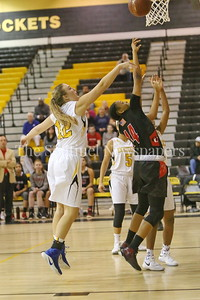 George P. Smith/The Montgomery Sentinel    Richard Montgomery High School's Melanie Osborne (#12) swats at the ball as Quince Orchard High School's Destini Kelly (#14) takes it to the hoop in the game played Friday, January 19, 2018.