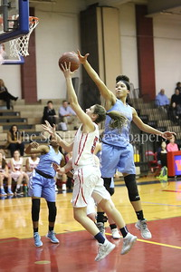 George P. Smith/The Montgomery Sentinel    Clarksburg High School's Trinity Klock (#34) gets a hand on the ball as Wootton's Zoey Goldgerb (#5) takes it to the hoop in the game played on the Patriot's home court on January 29, 2018.