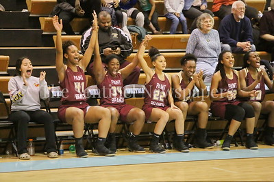George P. Smith/The Montgomery Sentinel    The Paint Branch High School bench celebrates as the Panthers erased a 14 point 4th quarter deficit to win over Walt Whitman High School by a score of 74-65 on the Lady Vikings home court Friday, February 2, 2018. Whitman failed to score in the last 1:51 while Pain Branch scored 12 unanswered points. Pant Branch went on a 27 to 6 point run in the last 5:45 of the game.