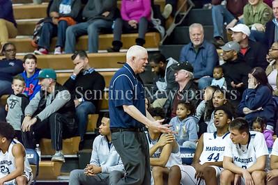 2/9/2018 - Magruder Coach Dan Harwood, Sherwood v Magruder Boys Basketball, ©2018 Jacqui South Photography