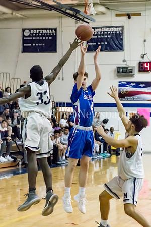 2/9/2018 - Sherwood senior guard Joshua Salzer (4) shoots a 3-point shot, Sherwood v Magruder Boys Basketball, ©2018 Jacqui South Photography