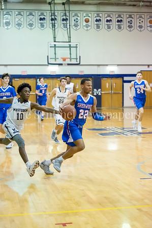 2/9/2018 - Sherwood senior guard/forward Donovan Lacey (22) on a fast break, Sherwood v Magruder Boys Basketball, ©2018 Jacqui South Photography