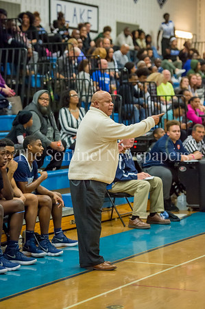 2/16/2018 - Springbrook head coach Darnell Myers, Springbrook v Blake Boys Basketball, ©2018 Jacqui South Photography