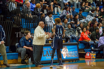 2/16/2018 - Springbrook coach Darnell Meyers and guard Timitrius Whitney-Hawkins (14), Springbrook v Blake Boys Basketball, ©2018 Jacqui South Photography