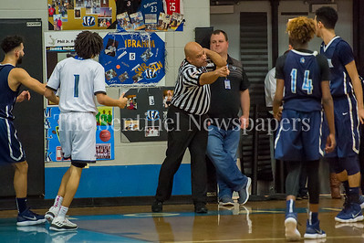 2/16/2018 - Over 50 personal fouls called in the game between Springbrook and Blake Boys Basketball, ©2018 Jacqui South Photography